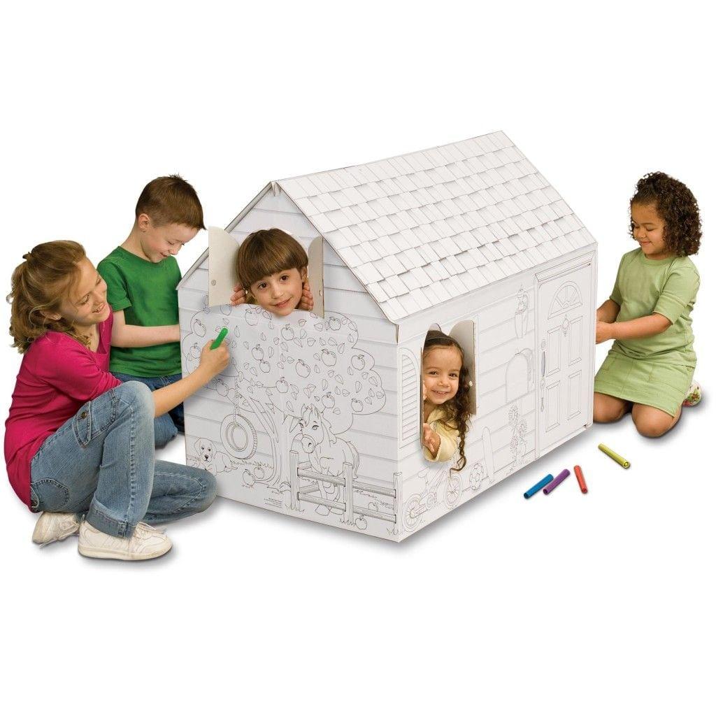 Beautiful Cardboard Coloring House Sketch