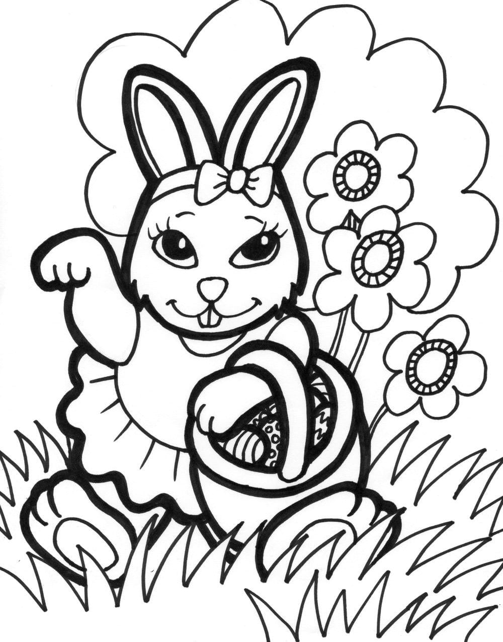 Easter Beautiful Bunny Girl Free Coloring Page • Animals, Easter