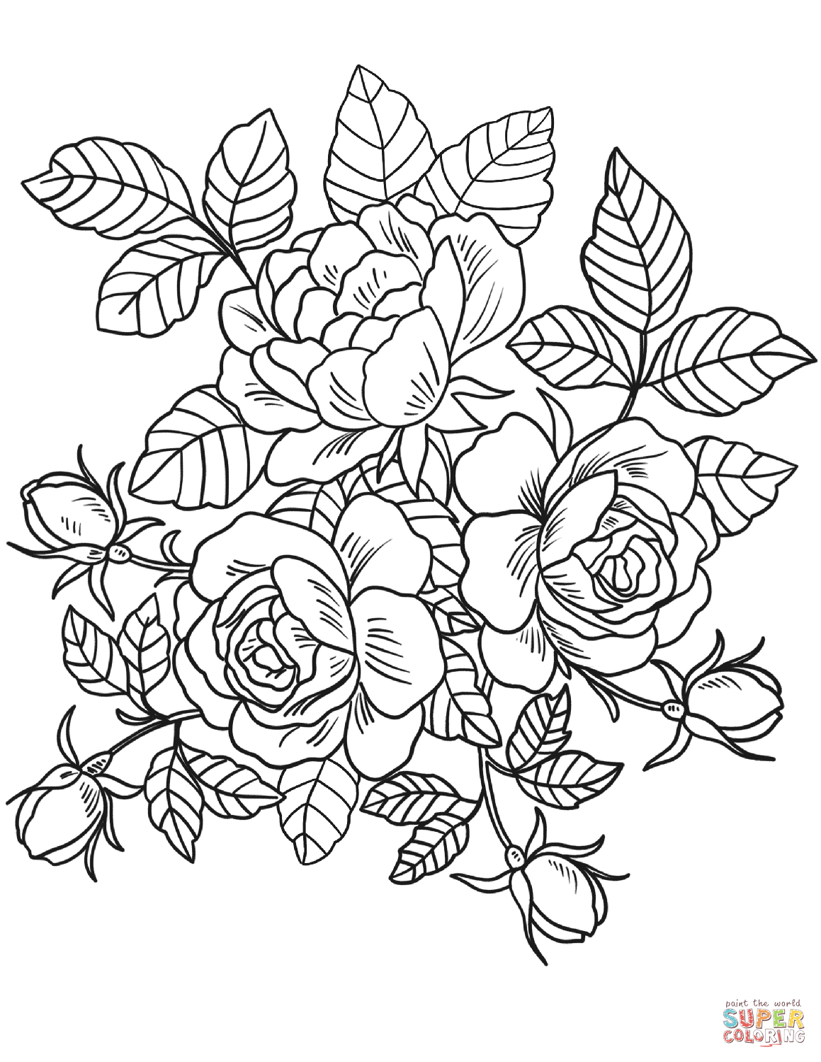 Excellent Ideas Coloring Page Flowers Bookmontenegromemediaroses