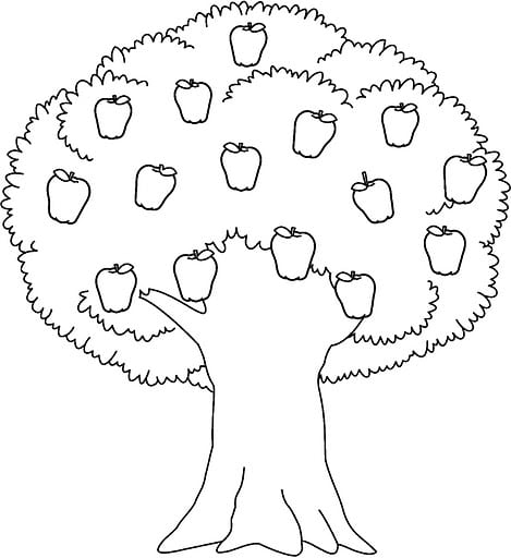 Apple Tree Coloring Pages Great Apple Tree Coloring Page
