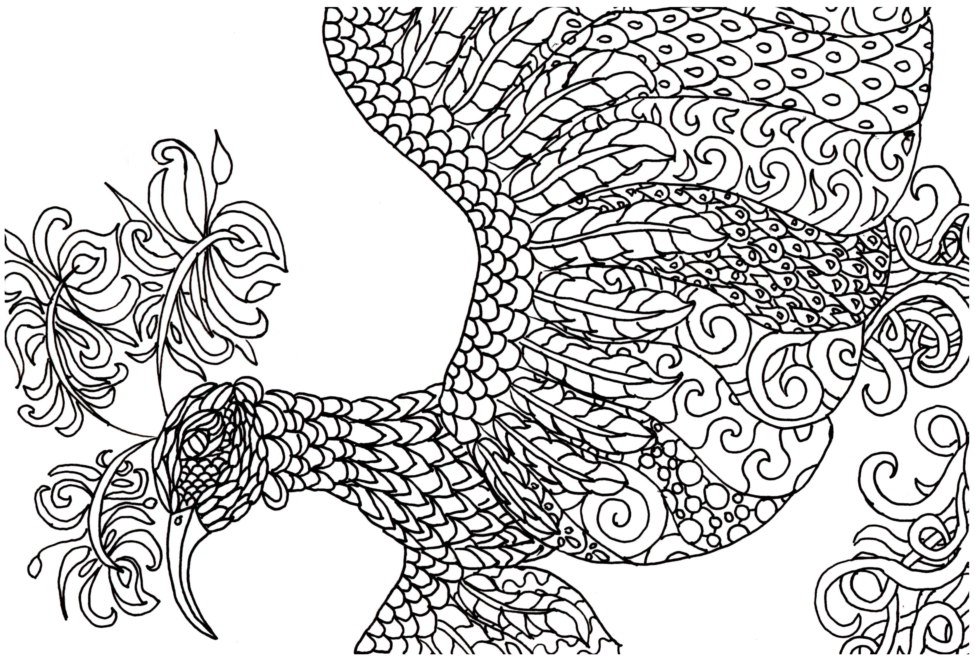 Free Adult Coloring Book Page Fantasy Bird Jeanine A Thriver Kids