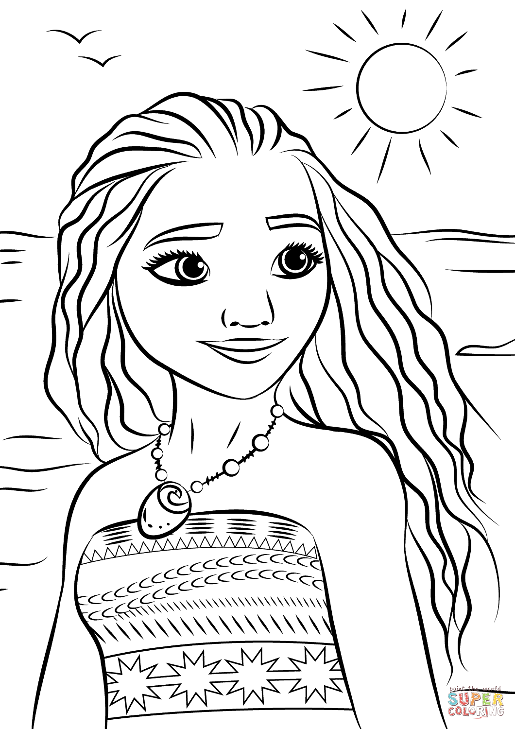 Free Coloring Pages Princess Moana Portrait Page Printable
