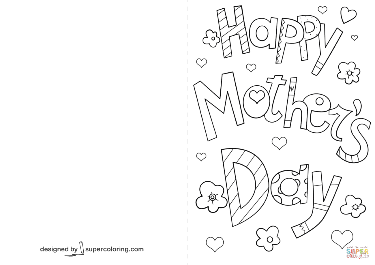 Happy Mother's Day Card Coloring Page