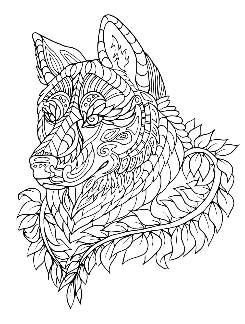 Hard Wolf Coloring Pages And For Adults