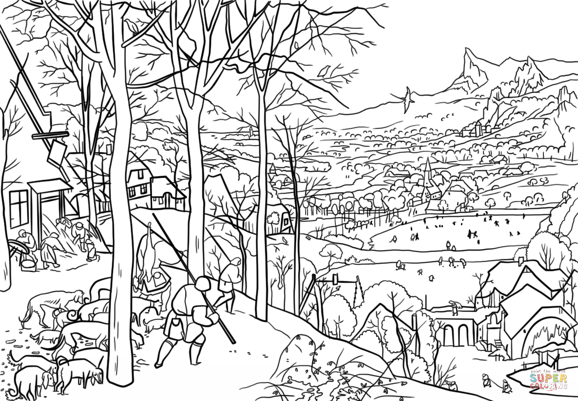 Hunters In The Snow By Pieter Bruegel The Elder Coloring Page