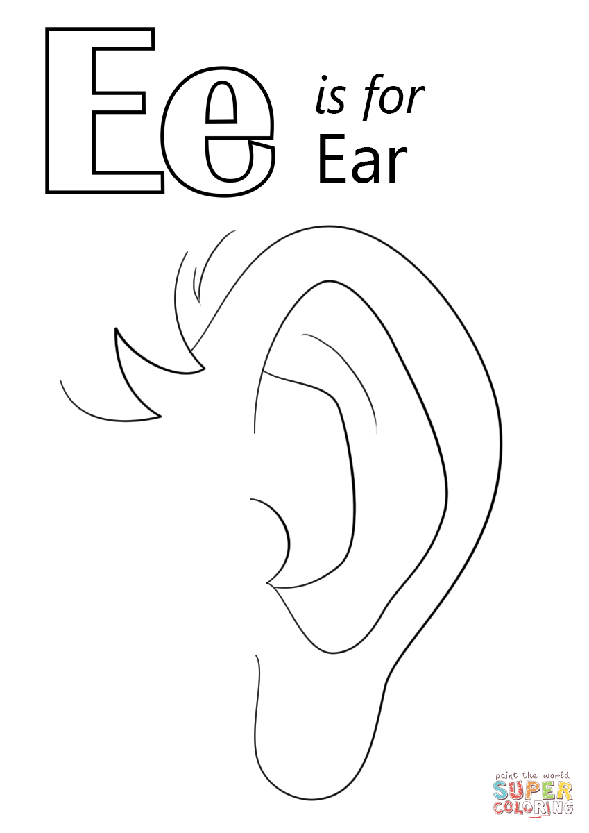 Letter E Is For Ear Coloring Page