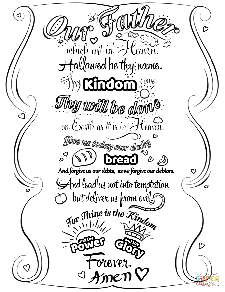 Lord's Prayer Doodle Coloring Page