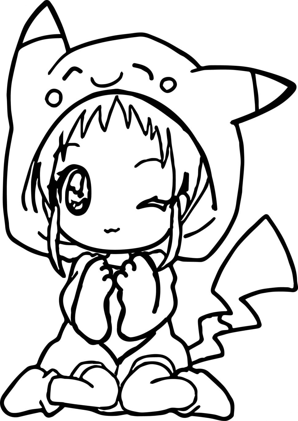Marvelous Anime Coloring Pages Preschool For Amusing Cute Anime