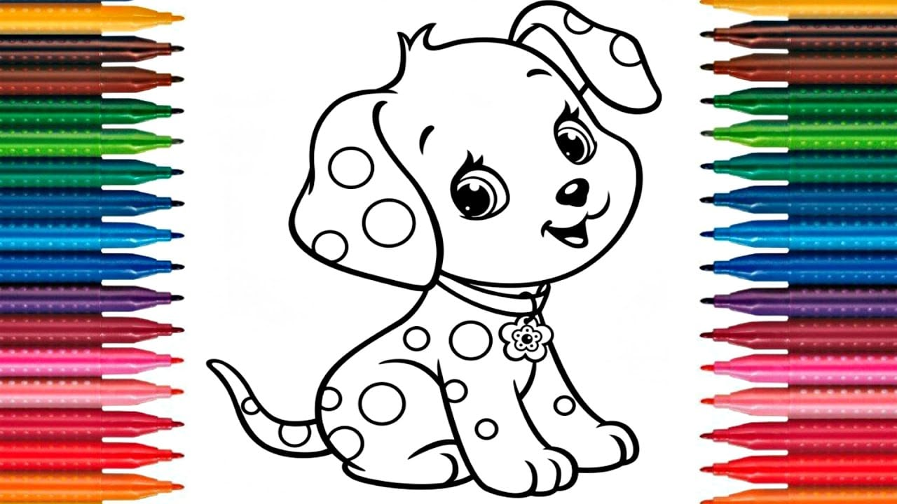 Drawing Puppy How To Draw Dog Colors Picture Coloring Book