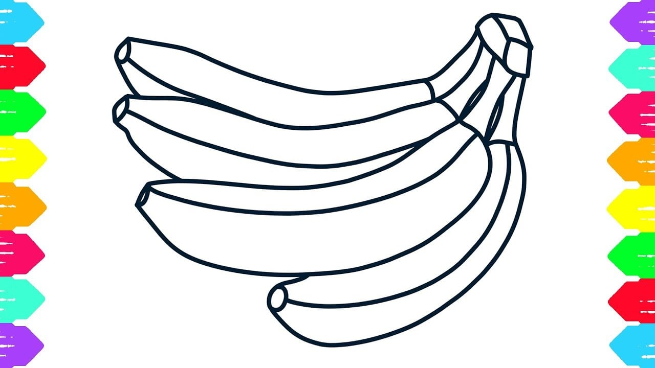 How To Draw Banana Coloring Pages For Kids