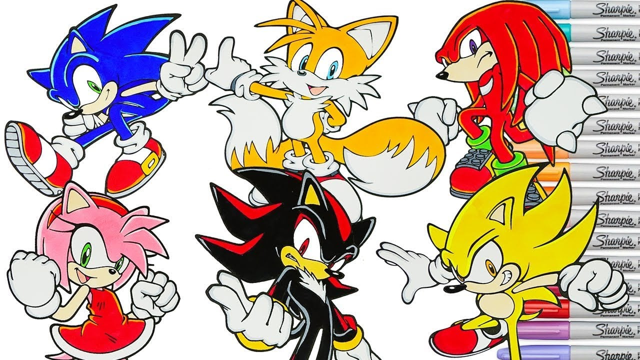 Sonic The Hedgehog Coloring Book Pages Compilation Tails Knuckles