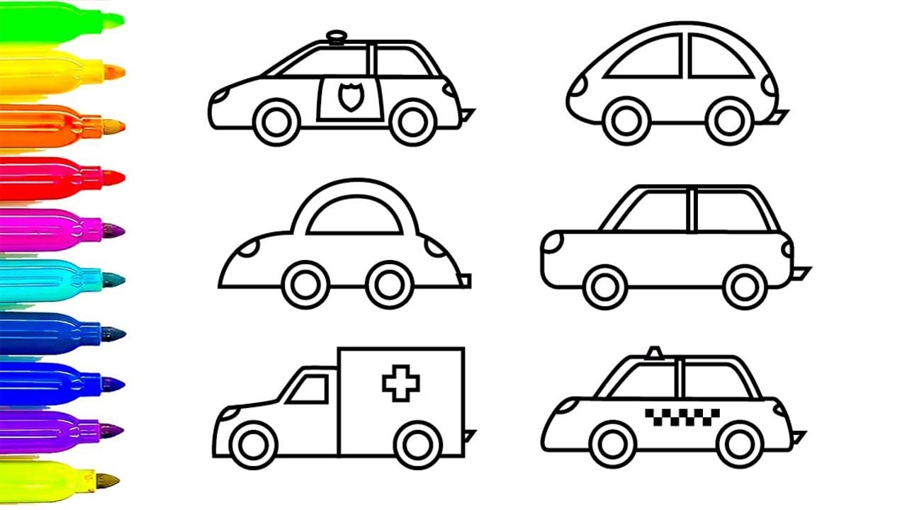 Car Coloring Pages, Learn Colors For Kids With Ambulance And