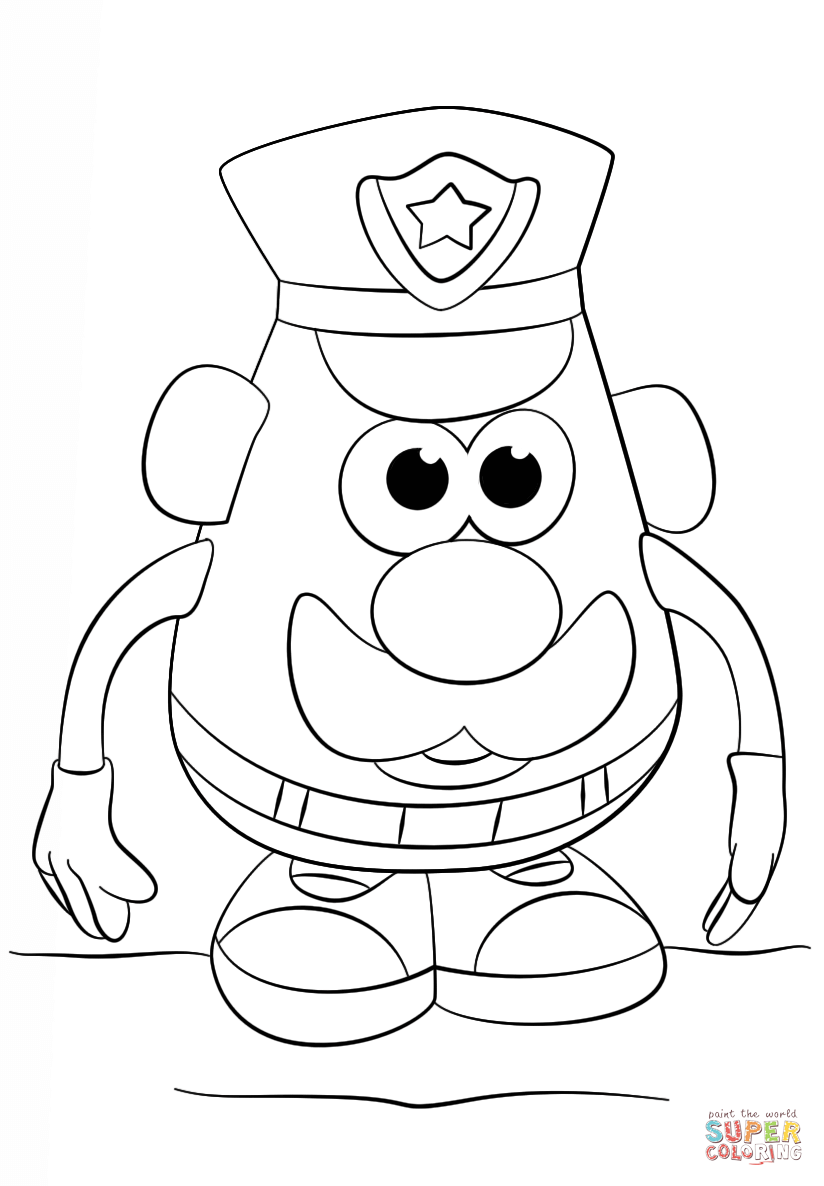 Mr  Potato Head Police Officer Coloring Page