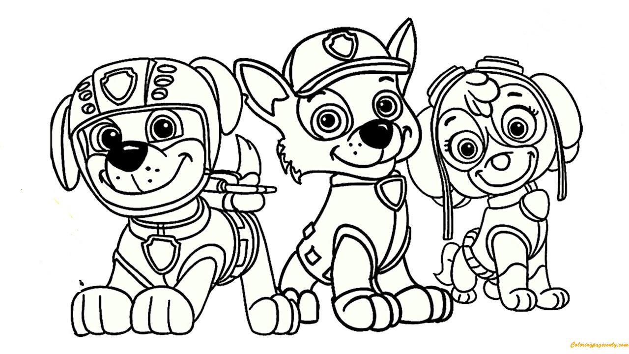Paw Patrol Rocky, Skye And Zuma Coloring Page