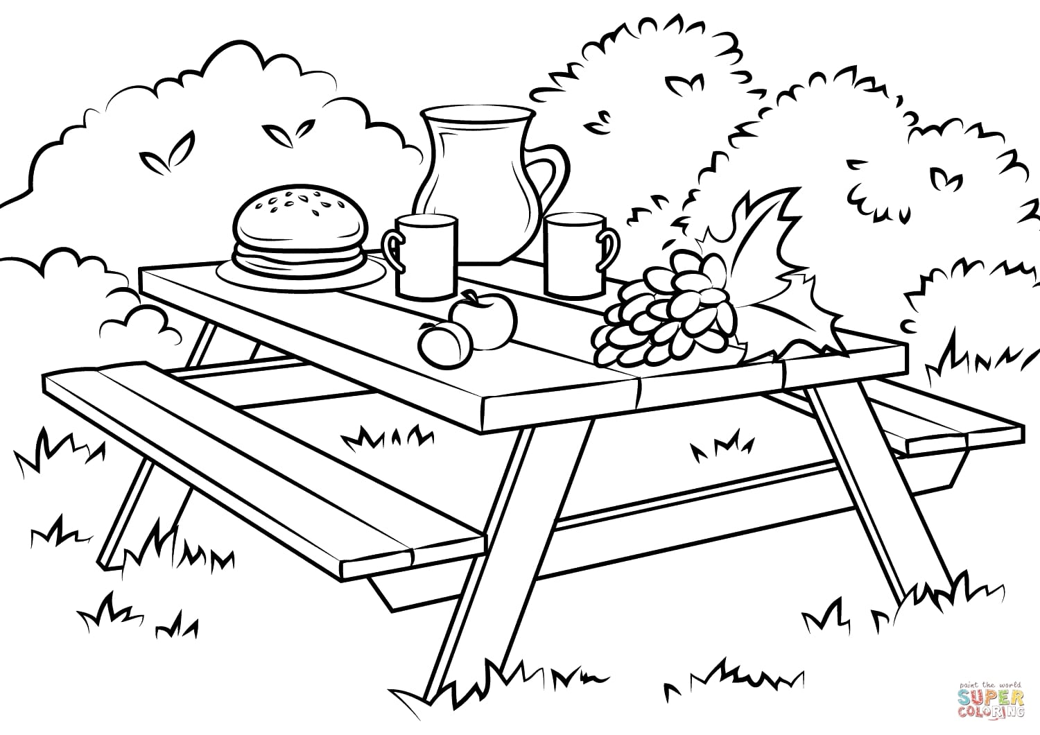 Picnic Coloring Pages Alric Throughout Pack For A Page Within