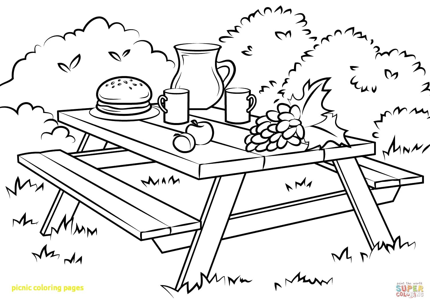 Picnic Coloring Pages With Table Page Of In 1