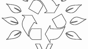 Recycling Can Coloring Page Art Clip Recycle Symbol Simple Pages
