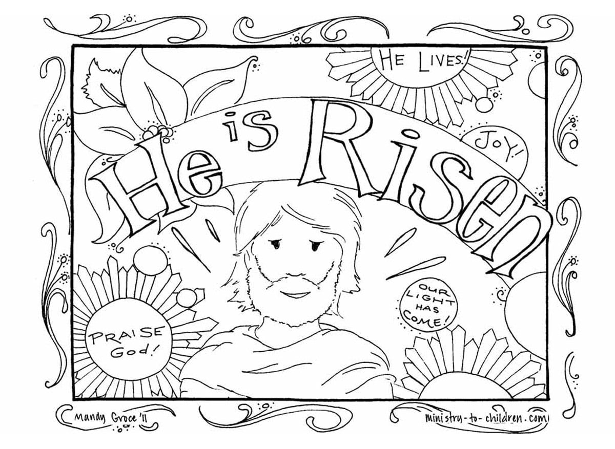 Religious Easter Coloring Pages To Print Archives Inside And