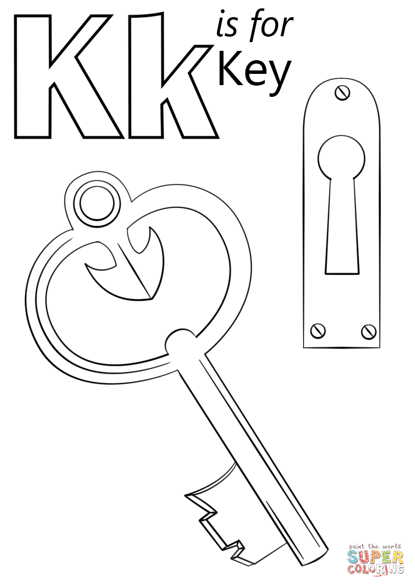 Security Lock And Key Coloring Page Letter K Is For Free Printable