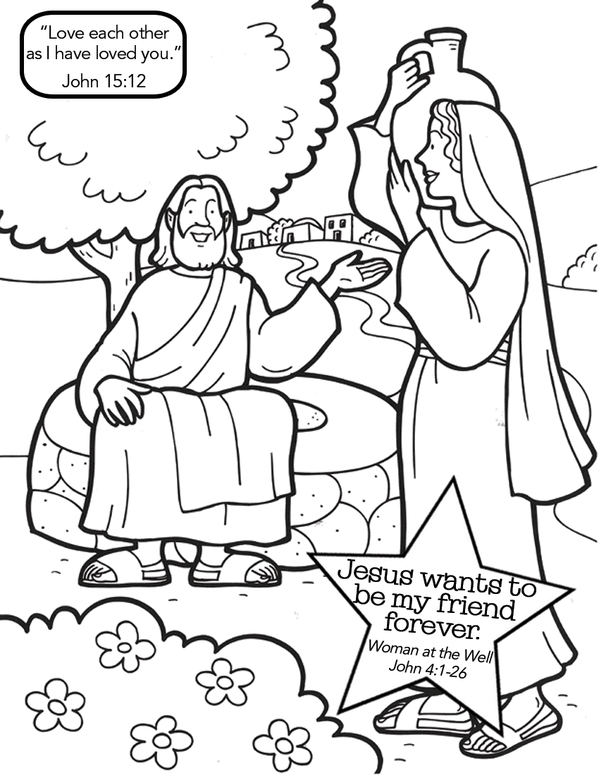 Spotlight Woman At The Well Coloring Page Free Jesus And Samaritan