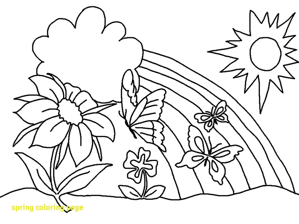 Spring Coloring Page With Spring Coloring Pages Butterfly Flower