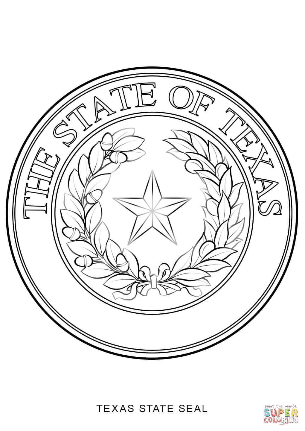 Texas State Seal Coloring Page