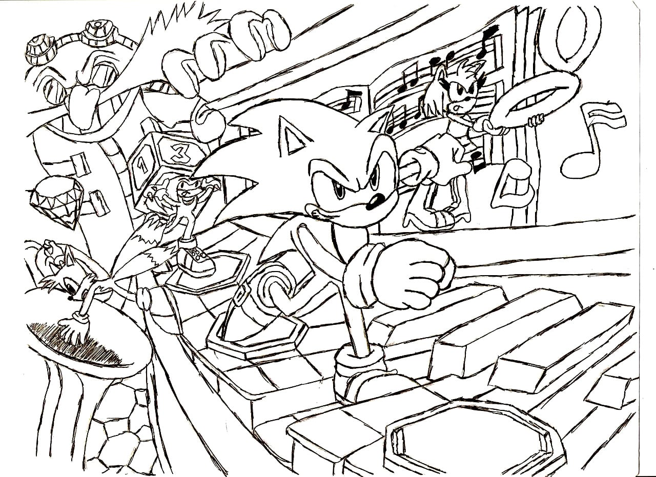 Top Sonic The Hedgehog Coloring Pages By With Hd Resolution