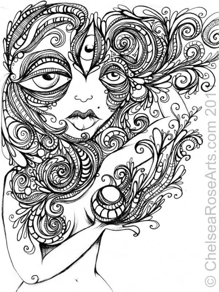 Trippy Coloring Pages Challenging Page Free For Adults Abstract