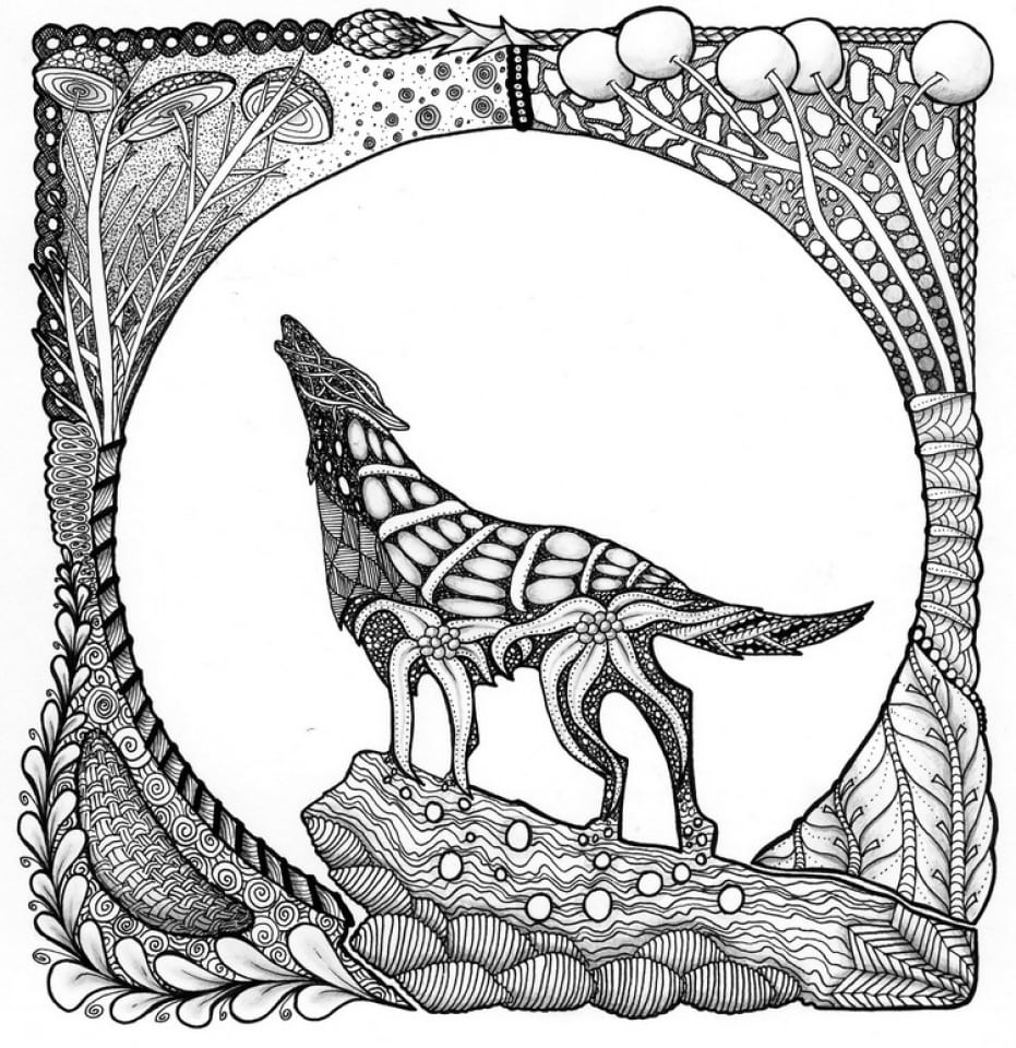 Get This Wolf Coloring Pages For Adults Free Printable 09418 !