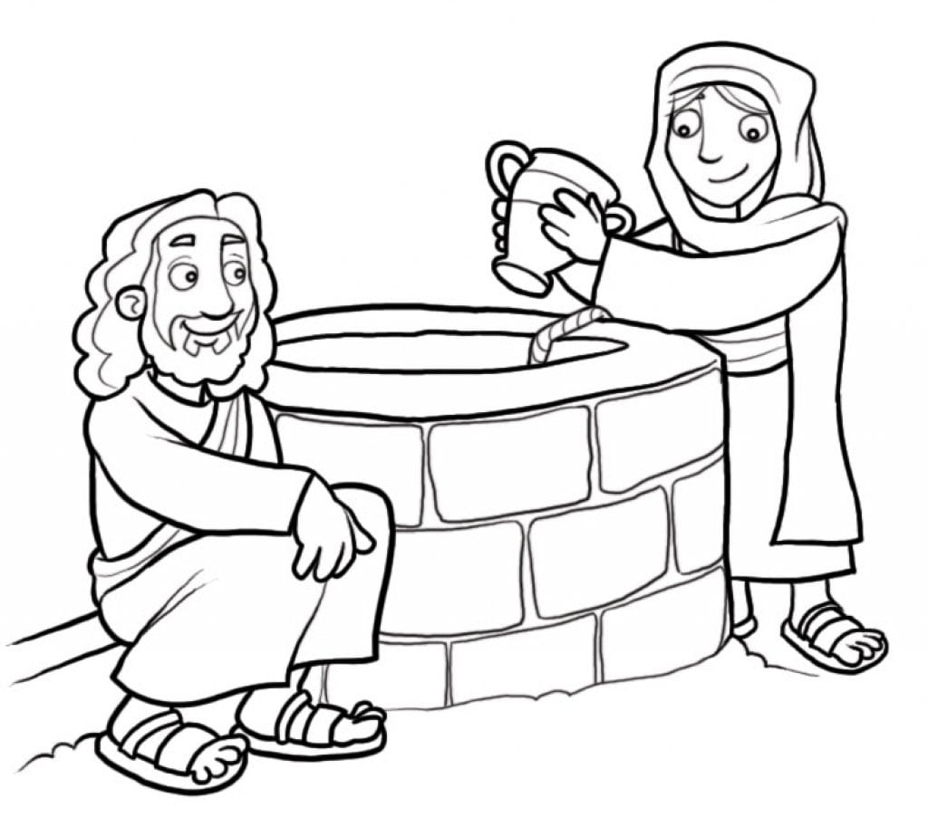 Samaritan Woman At The Well Coloring Page