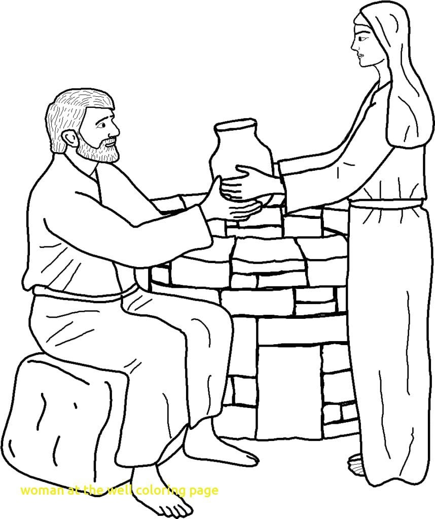 Woman At The Well Coloring Page With Jesus And The Samaritan Woman