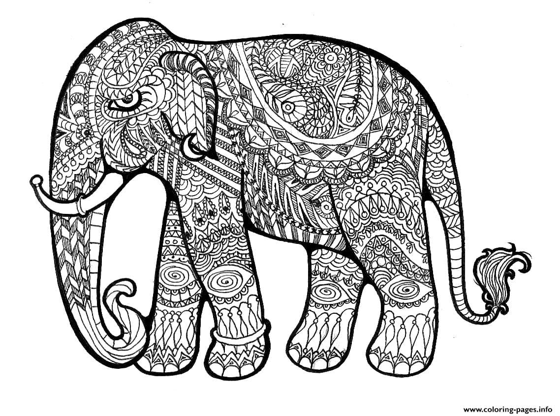 Elephant Complex For Adults Print Out Hard Coloring Pages Printable