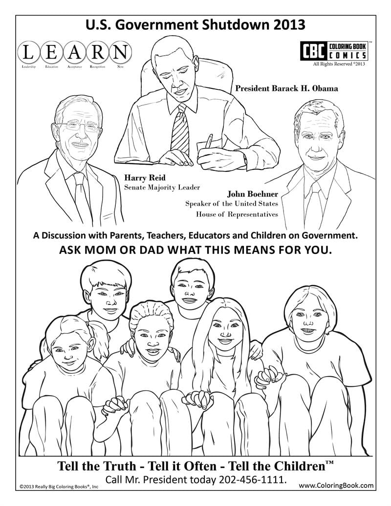 Government Shutdown Coloring Book Page