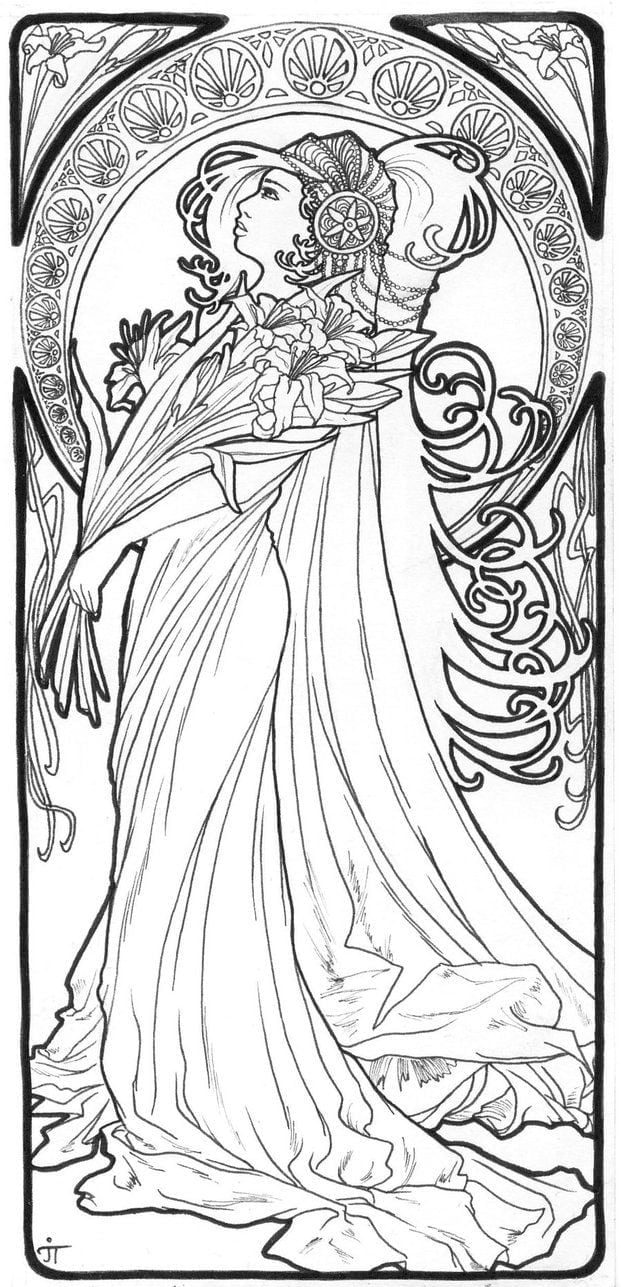 192 Best ✐art Nouveau Coloring Pages Images On Neo Coloring