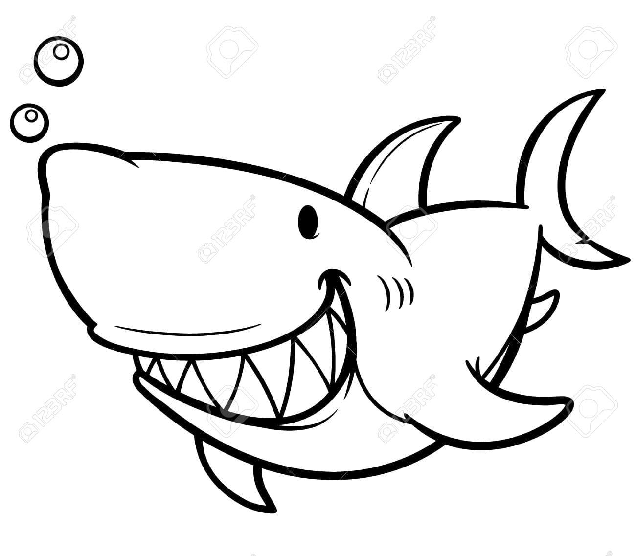 Vector Illustration Of Cartoon Shark