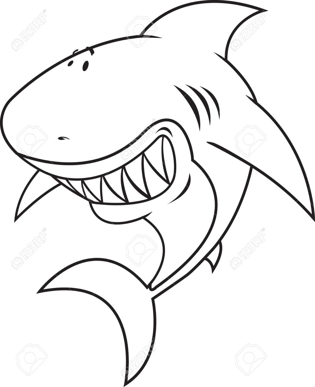 Great White Shark Coloring Book Illustration Royalty Free Cliparts