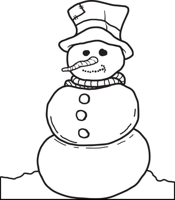 Free, Printable Snowman Coloring Page For Kids, Snowman Coloring