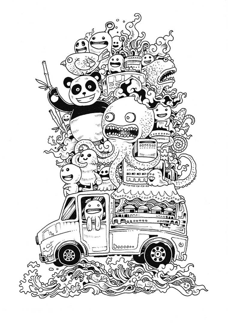 Doodle Invasion – A Cute And Complex Coloring Book For Grown