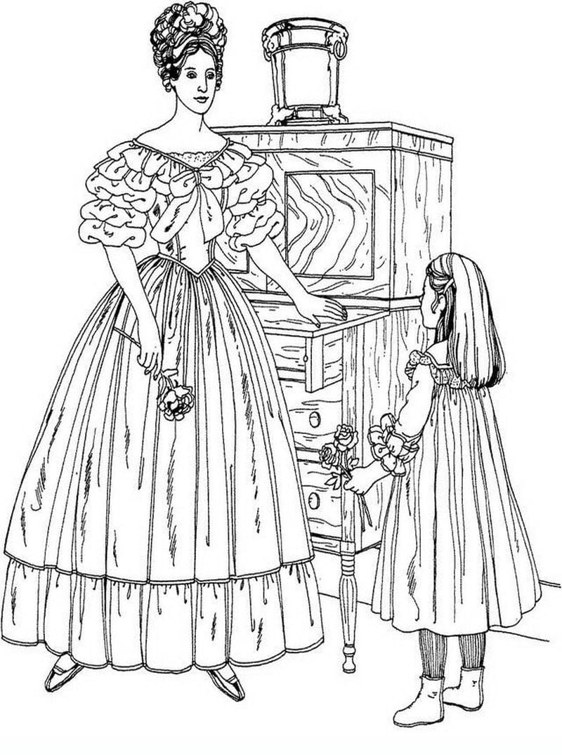 Beautiful Victorian Woman Detailed Coloring Pages Hard