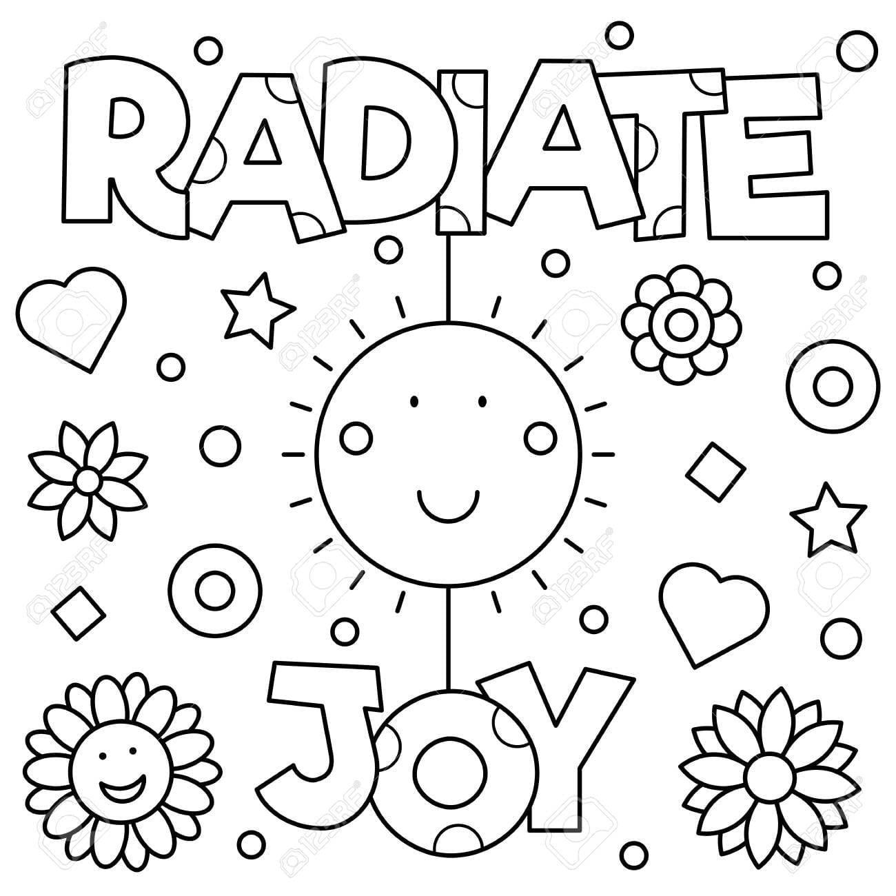 Radiate Joy Coloring Page  Vector Illustration  Royalty Free
