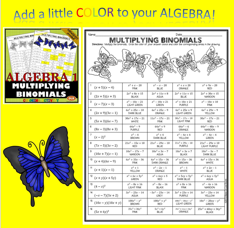 Multiplying Binomials Coloring Activities (4 Differentiated Levels