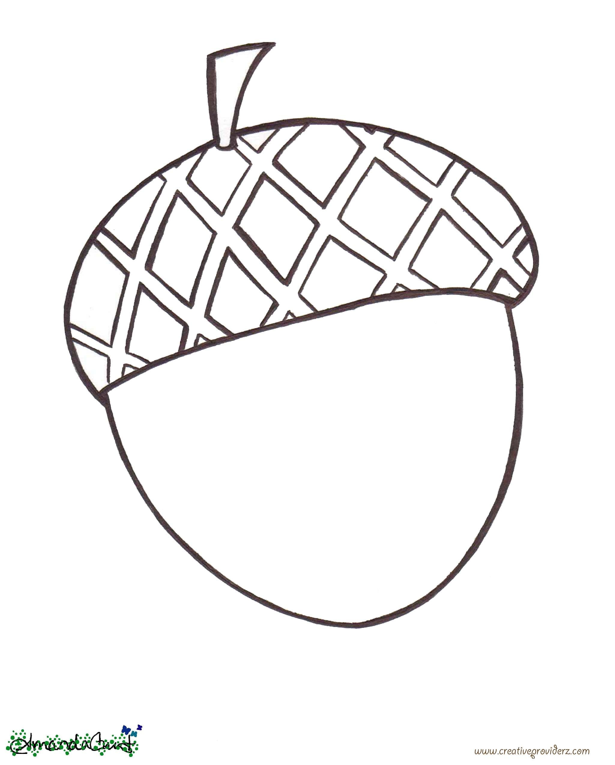 Acorn Coloring Pages Fall Leaves And Page Free Printable Within