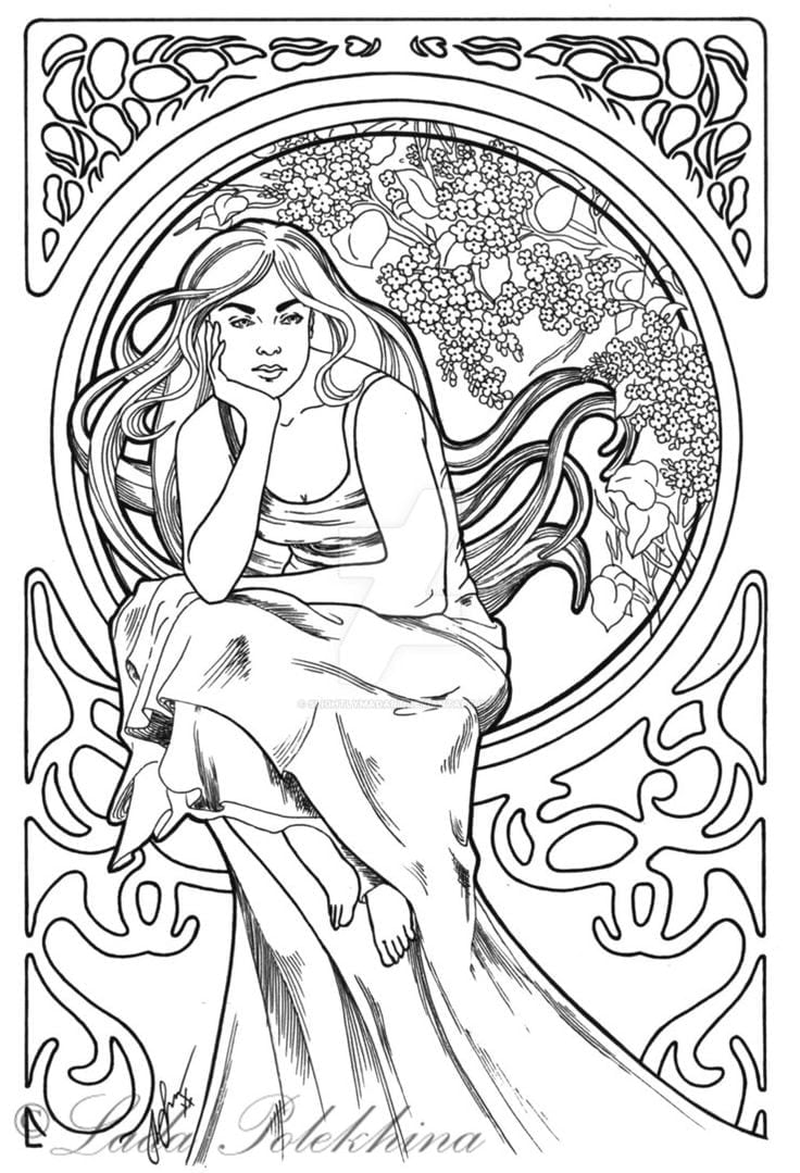 Adult Coloring Book In Art Nouveau Pages