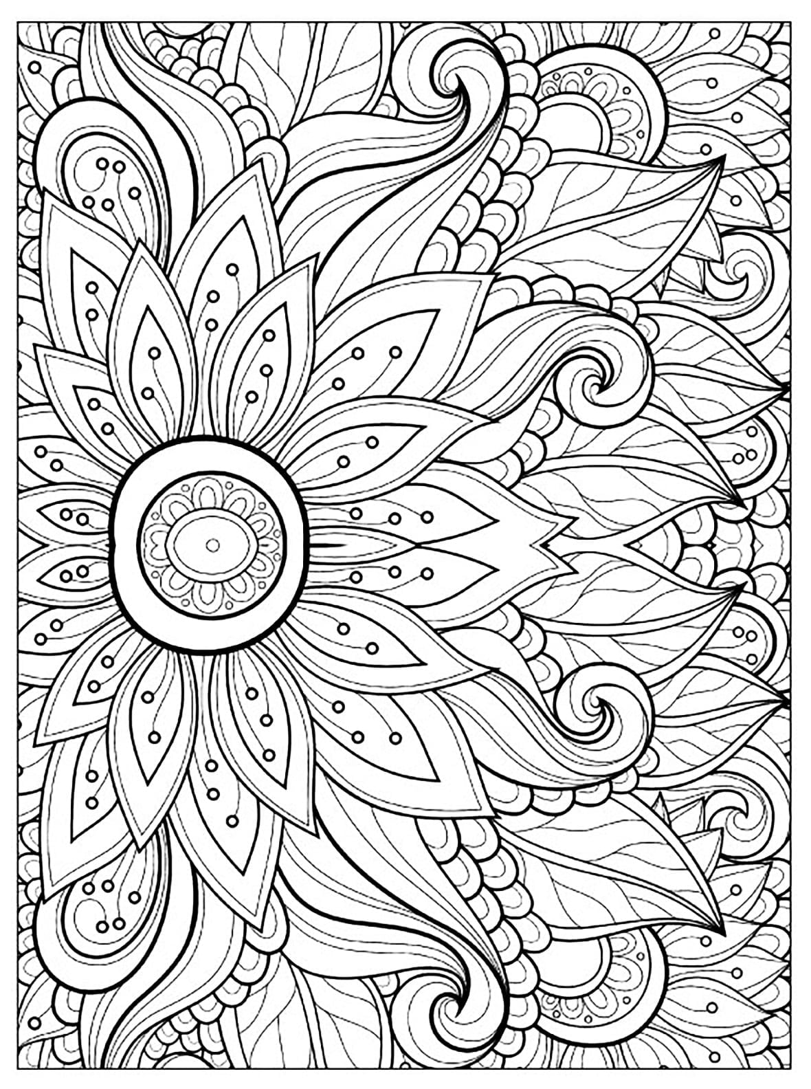 Awesome Adult Coloring Pages Flower Collection