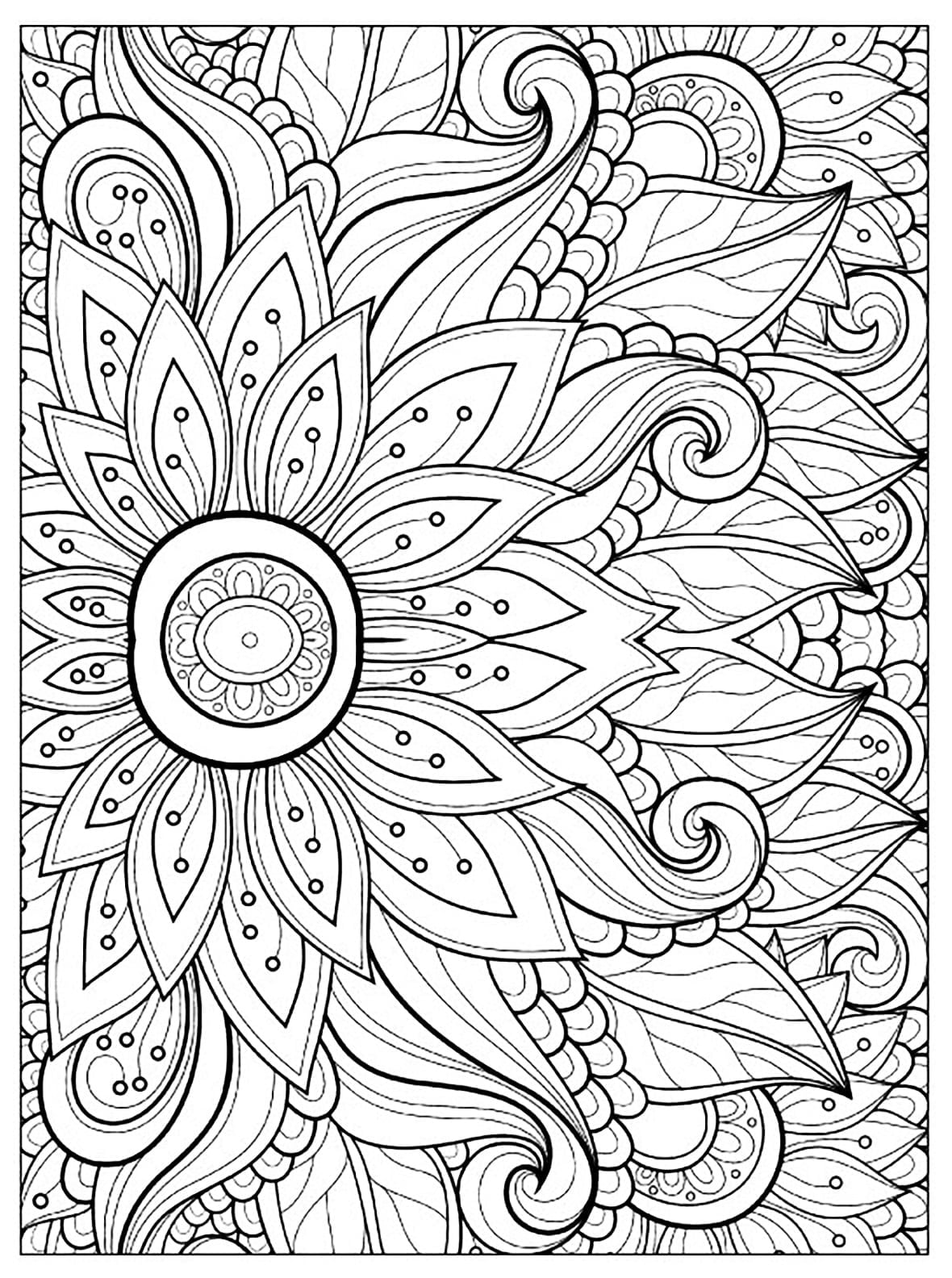 Adult Flower Coloring Pages Bloodbrothers Me Throughout