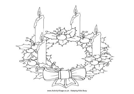 Advent Wreath Coloring Page Christmas For Kids In