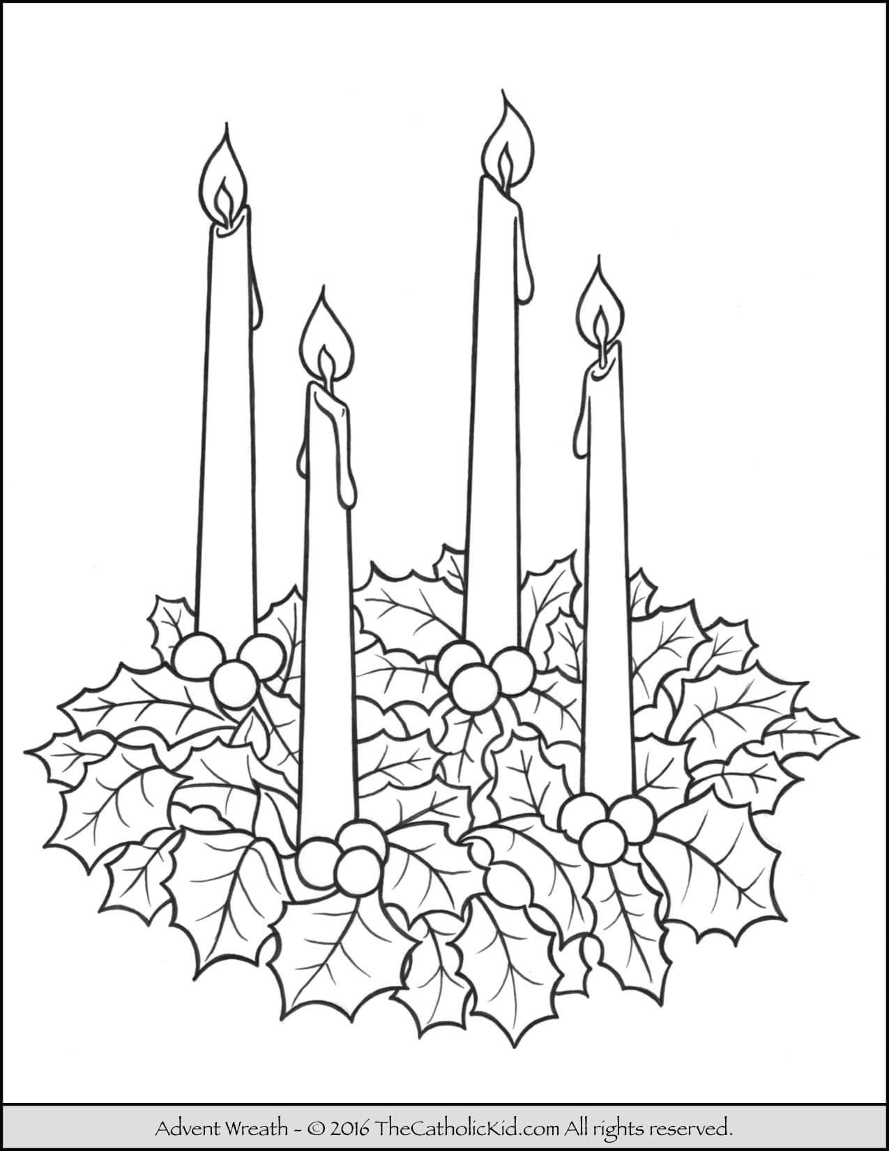 Advent Wreath Coloring Page For