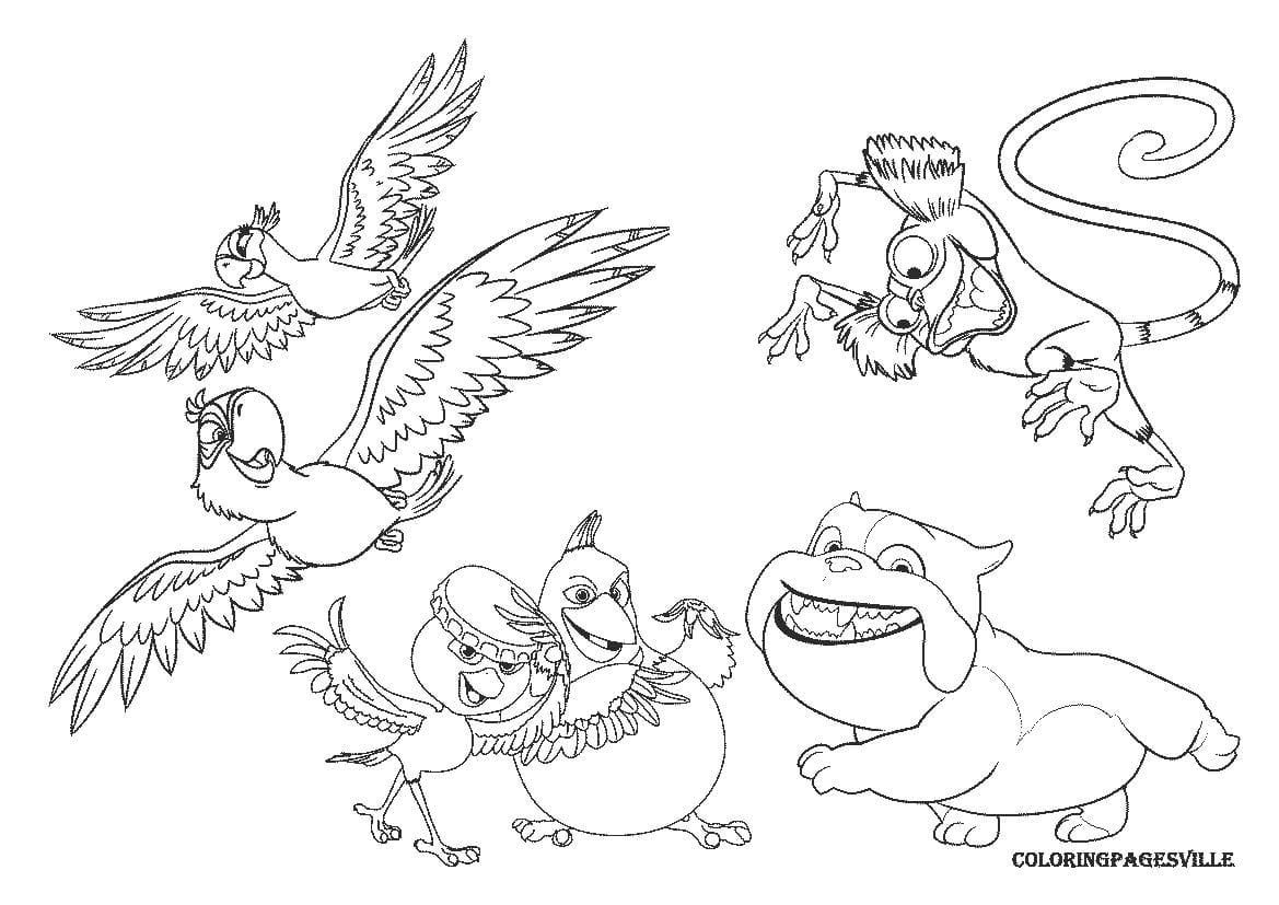 Angry Birds Rio Printable Coloring Pages New Inside