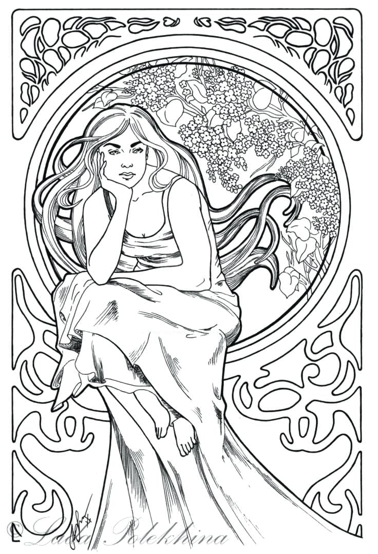 Art Nouveau Coloring Pages Page Adult Book In Deco