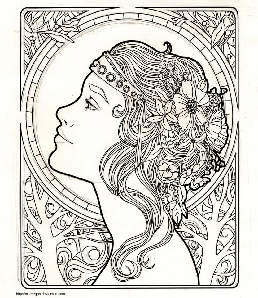 Art Nouveau Coloring Pages Wip By Mseregon On Deviantart For